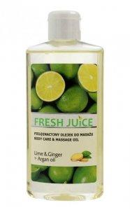 Fresh Juice Pielęgnacyjny Olejek do masażu Lime & Ginger+Argan Oil  150ml