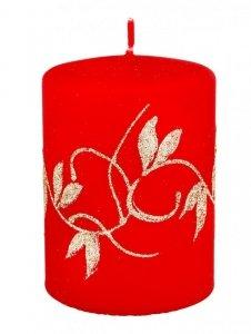 ARTMAN Boże Narodzenie Świeca ozdobna Amelia czerwona - walec mały 1szt
