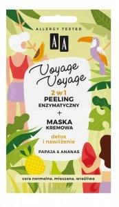 AA Voyage Voyage Peeling enzymatyczny + Maska kremowa 2w1 Papaja i Ananas  2x5ml