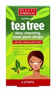 Beauty  Formulas Tea Tree Głęboko oczyszczające paski na nos  1op-6szt