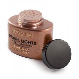 Makeup Revolution Pearl Lights Loose Highlighter Puder sypki rozświetlający Sunset Gold  25g