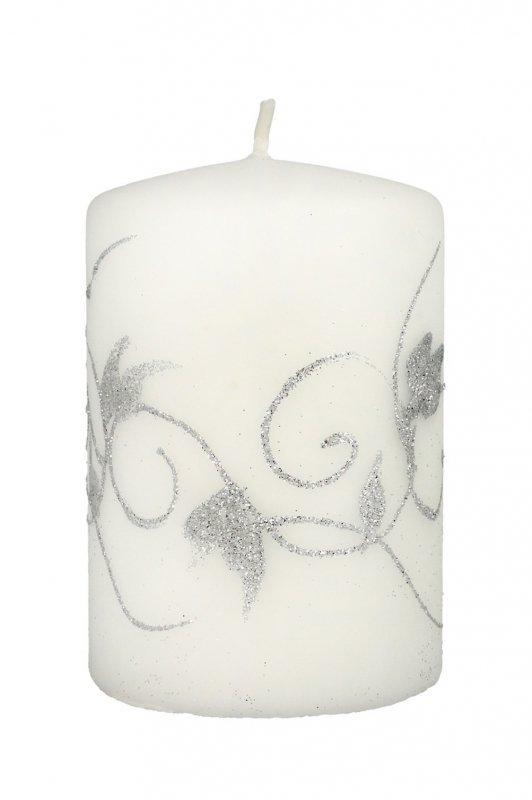 ARTMAN Boże Narodzenie Świeca ozdobna Amelia biała - walec mały 1szt
