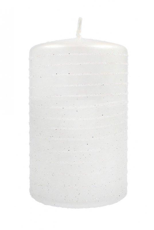 ARTMAN Boże Narodzenie Świeca ozdobna Andalo Metalic biała - walec mały 1szt