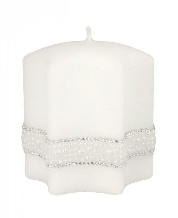 ARTMAN Boże Narodzenie Świeca ozdobna Crystal Pearl biała - gwiazda mała 1szt