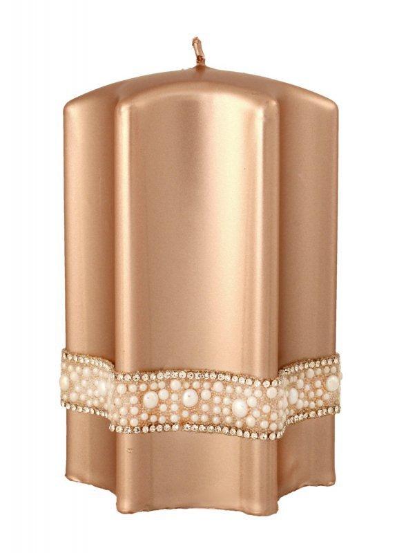 ARTMAN Boże Narodzenie Świeca ozdobna Crystal Opal Pearl rose gold - gwiazda średnia 1szt