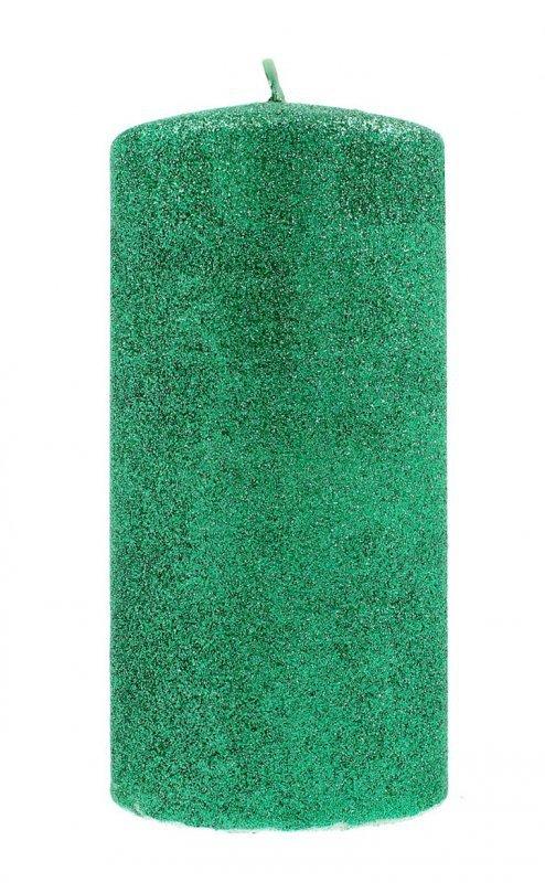 ARTMAN Świeca ozdobna Glamour zielona - walec mały 1szt
