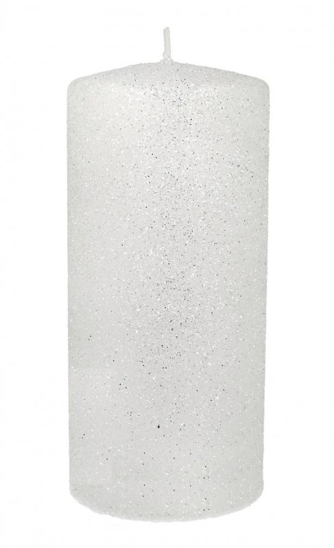 ARTMAN Świeca ozdobna Glamour biała - walec średni 1szt