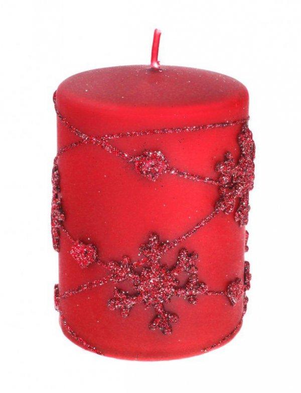ARTMAN Boże Narodzenie Świeca ozdobna Snowflakes czerwona - walec mały 1szt