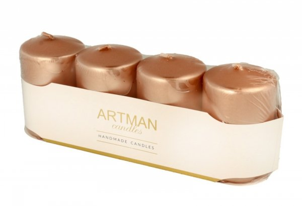 ARTMAN Świeca ozdobna 4-pack Metalic rose gold - walec mały  1op.-4szt