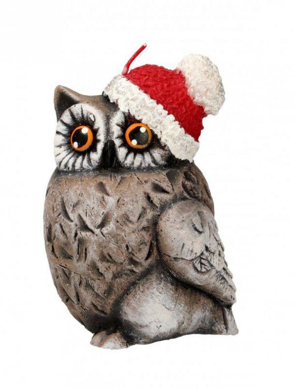 ARTMAN Boże Narodzenie Świeca ozdobna Sowa Świąteczna brązowa - zwrócona w lewo 1szt