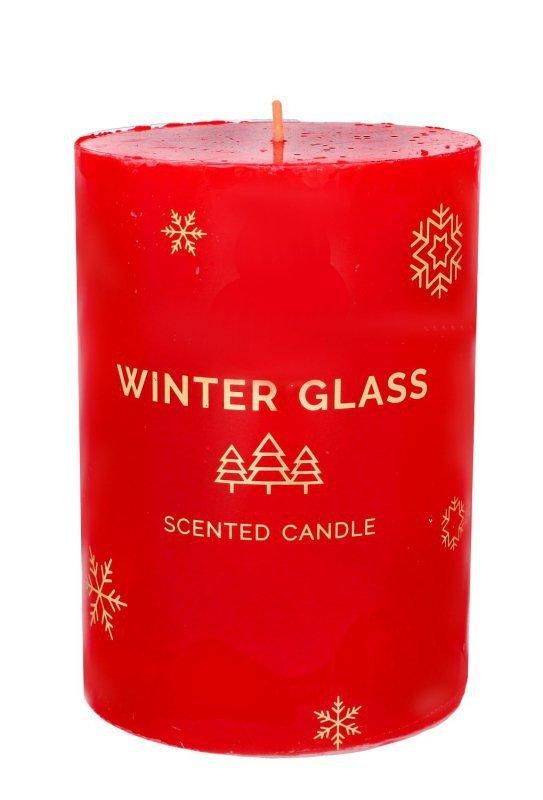 ARTMAN Boże Narodzenie Świeca zapachowa Winter Glass czerwona - walec  1szt