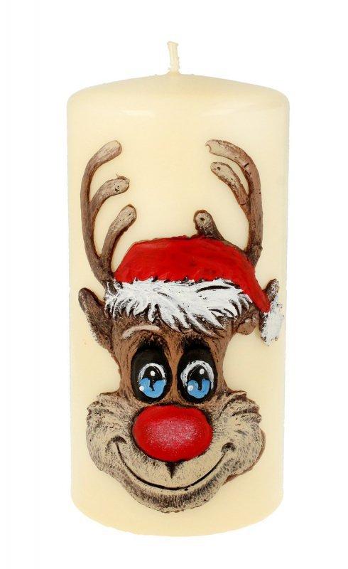 ARTMAN Boże Narodzenie Świeca ozdobna Rudolf kremowy - walec średni 1szt