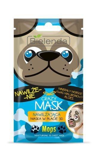 Bielenda Crazy Mask Maska nawilżająca w płacie 3D Mops