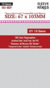 Sleeve Kings Space Alert Large Compatibile Card Sleeves (67x103mm) - 110 Pack, 60 Microns