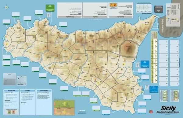 FAB: Sicily'43 - Mounted Mapboard