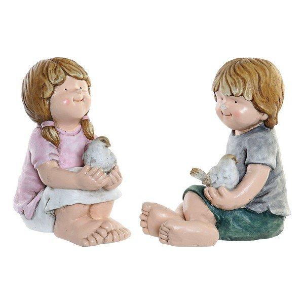 Figurka Dekoracyjna DKD Home Decor Włókno szklane Dzieci (2 pcs) (26 x 28 x 33 cm)