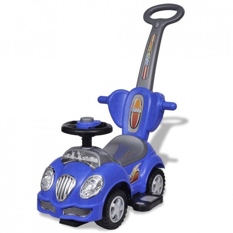 Niebieski samochód jeździk z drążkiem do pchania