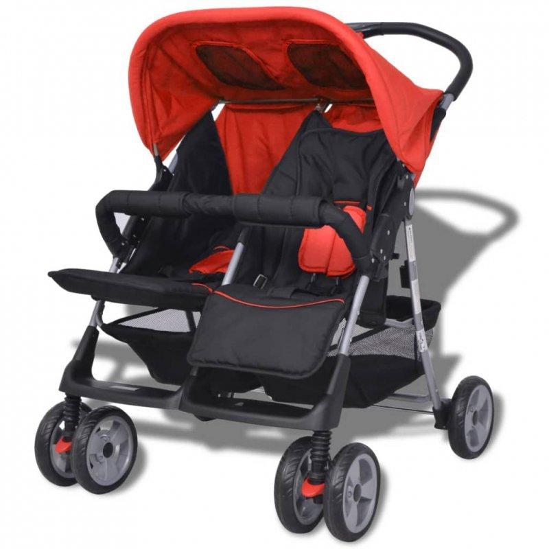 Wózek spacerowy dla bliźniaków czerwony i czarny