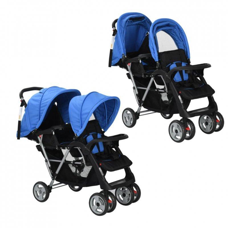 Wózek spacerowy dla bliźniąt, tandem niebiesko-czarny
