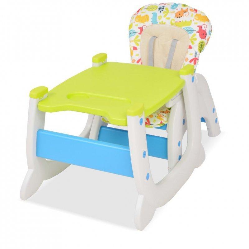Krzesełko do karmienia 3w1 ze stolikiem, niebieski i zielony