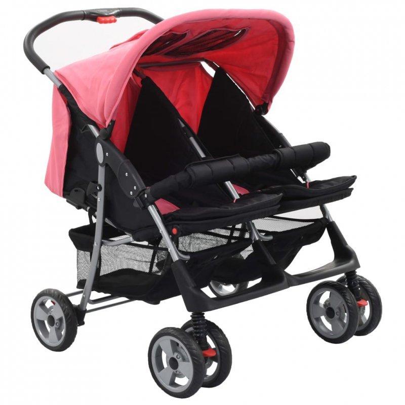 Wózek spacerowy dla bliźniaków, różowo-czarny, stal