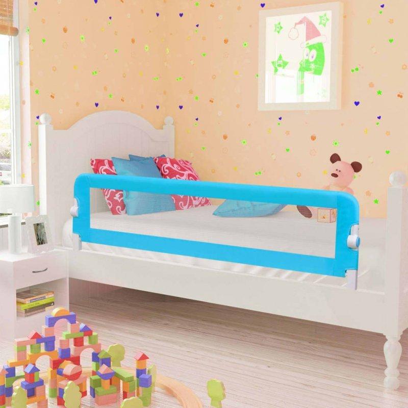 Barierka do łóżeczka dziecięcego, niebieska 120x42 cm poliester