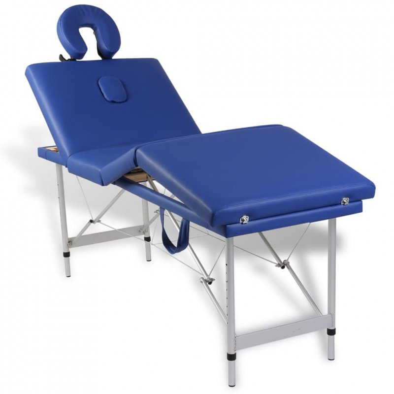 Niebieski składany stół do masażu 4 strefy z aluminiową ramą