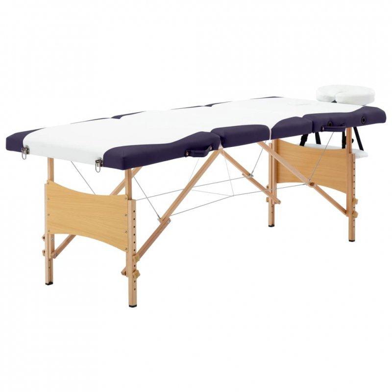 Składany stół do masażu, 4 strefy, drewniany, biało-fioletowy
