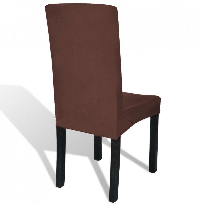 Elastyczne pokrowce na krzesła w prostym stylu, 4 szt., brązowe