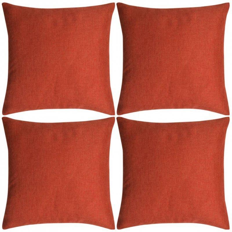 Poszewki na poduszki 4 szt. lniane, terakota 40x40 cm