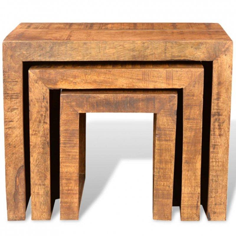 Zestaw 3 stolików wsuwanych pod siebie, lite drewno mango