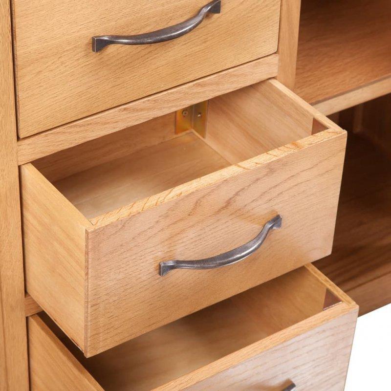 Komoda z 3 szufladami, 110 x 33,5 x 70 cm, lite drewno dębowe