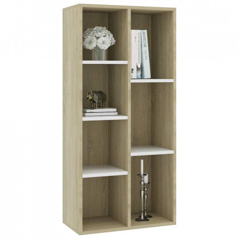 Regał na książki, biel i dąb sonoma, 50x25x106 cm
