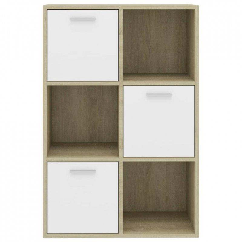 Szafka, kolor biały i dąb sonoma, 60x29,5x90 cm, płyta wiórowa