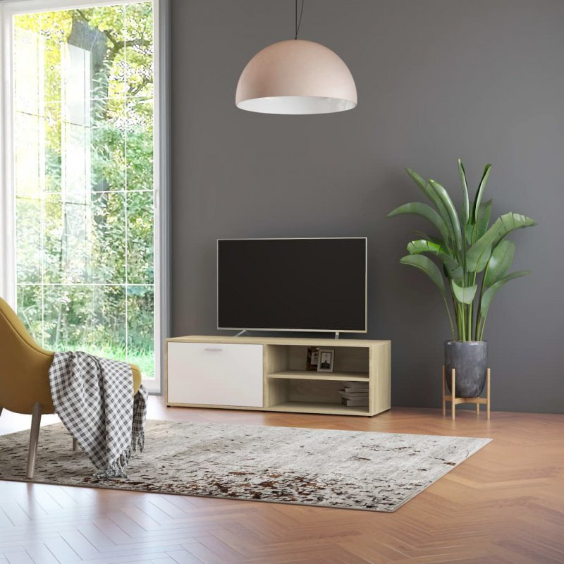 Szafka pod TV, biel i dąb sonoma, 120x34x37 cm, płyta wiórowa