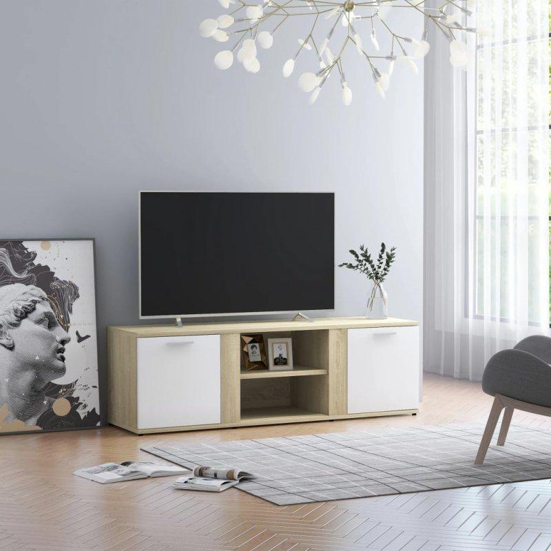 Szafka TV, biel i dąb sonoma, 120x34x37 cm, płyta wiórowa