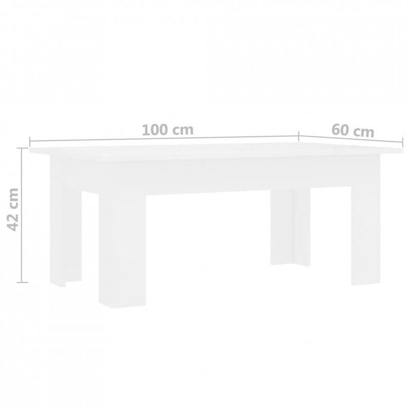 Stolik kawowy, biały, 100x60x42cm, płyta wiórowa
