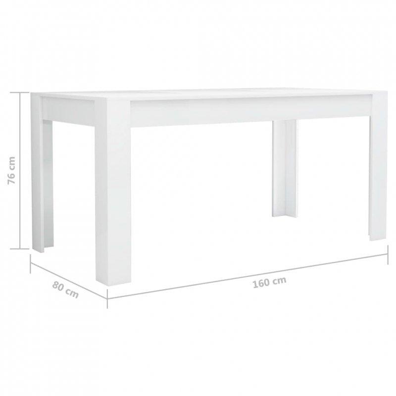 Stół jadalniany, wysoki połysk, biały, 160 x 80 x 76 cm