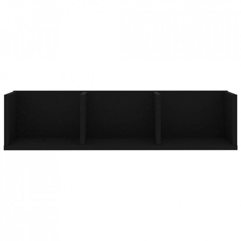 Półka ścienna na płyty CD, czarna, 75x18x18 cm, płyta wiórowa