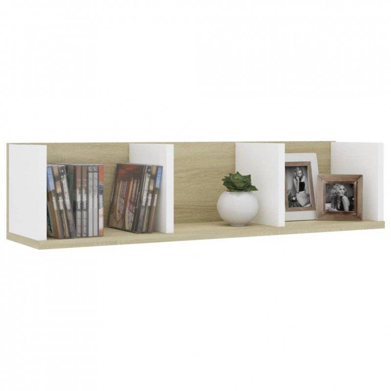 Półka ścienna na płyty CD, biel i dąb sonoma, 75x18x18 cm