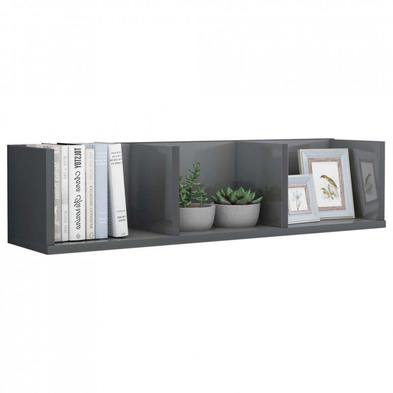 Półka ścienna na płyty CD, szara, wysoki połysk, 75x18x18 cm