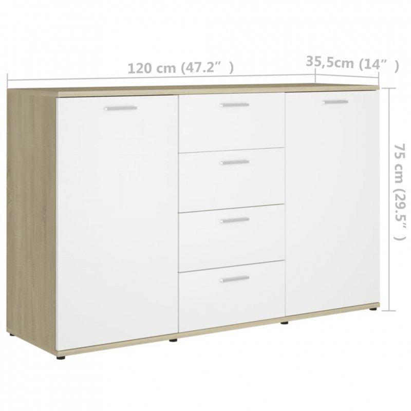 Szafka, biel i dąb sonoma, 120x35,5x75 cm, płyta wiórowa