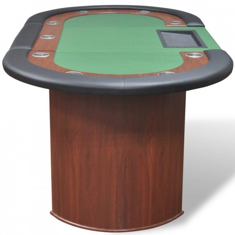 Stół do pokera dla 10 graczy z tacą na żetony, zielony