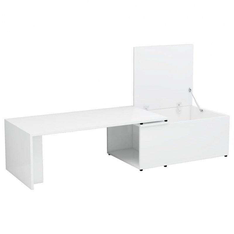 Stolik kawowy, wysoki połysk, biały, 150x50x35cm, płyta wiórowa