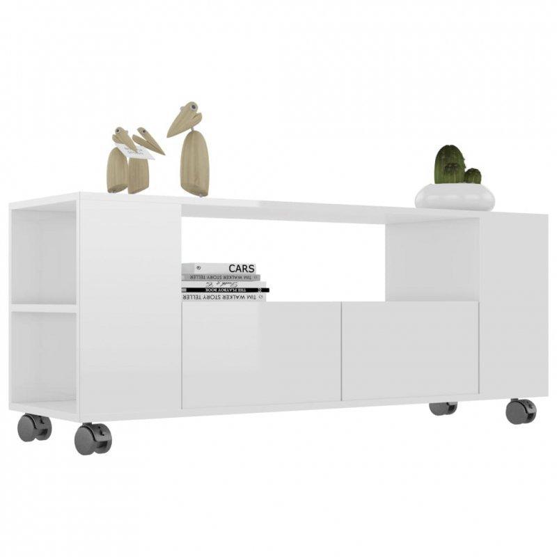Szafka pod TV, wysoki połysk, biała, 120x35x43cm, płyta wiórowa