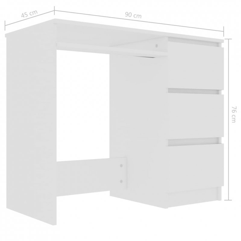 Biurko, białe, 90x45x76 cm, płyta wiórowa