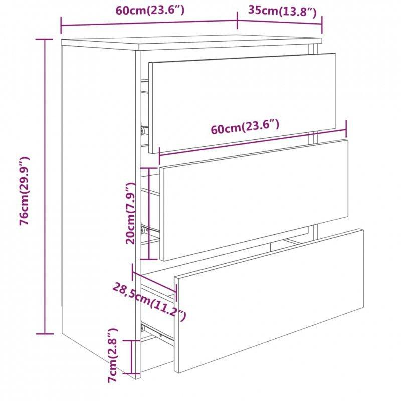 Komoda biała na wysoki połysk, 60 x 35 x 76 cm, płyta wiórowa