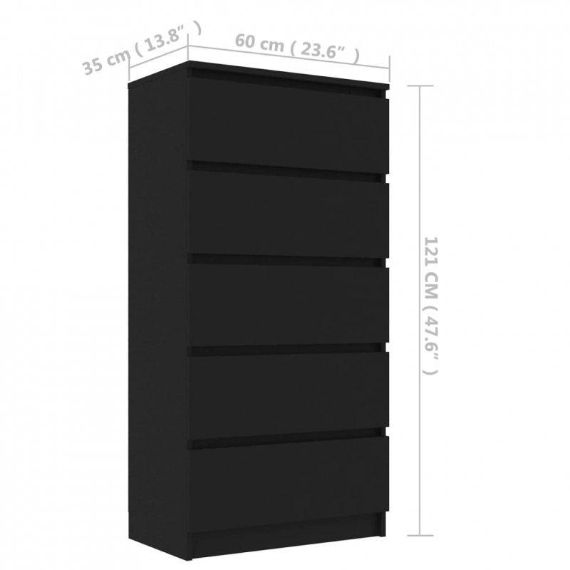 Komoda, czarna, 60x35x121 cm, płyta wiórowa