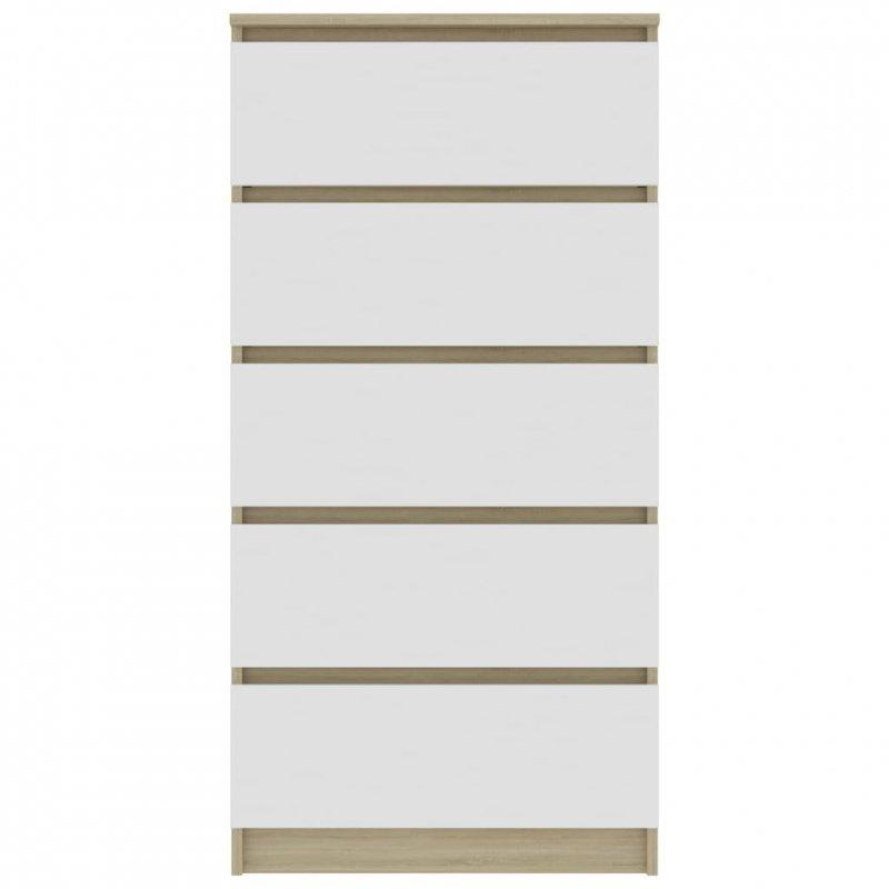Komoda, biel i dąb sonoma, 60x35x121 cm, płyta wiórowa