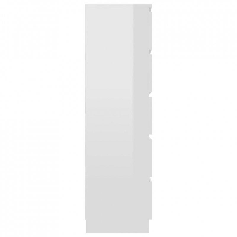Komoda na wysoki połysk, biała, 60x35x121 cm, płyta wiórowa